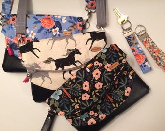 Ready to ship // Fold-Over Clutch // Compact Purse // Crossbody purse