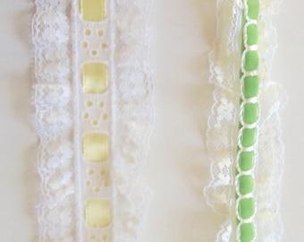 "1-1/4"" Ruffled Lace with Interwoven Ribbon"