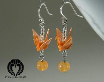Origami Jewelry, Origami Crane Earrings - Orange