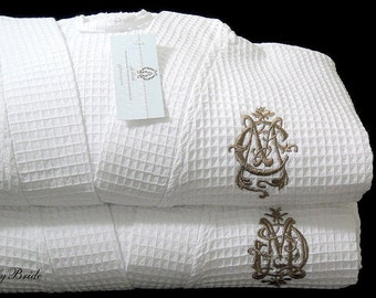 Couples monogrammed robes Personalized cotton anniversary gift jfyBride 1605 Set of 2 Robes