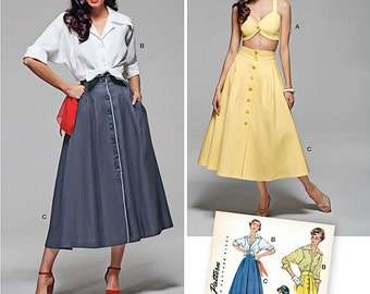 Simplicity Pattern 1166 Misses' Vintage  50's Blouse, Skirt and Bra Top size 6-14