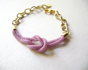 Love Infinity Knot bracelet Lilac golden bracelet Metal snake chain bracelet Light violet knot jewelry