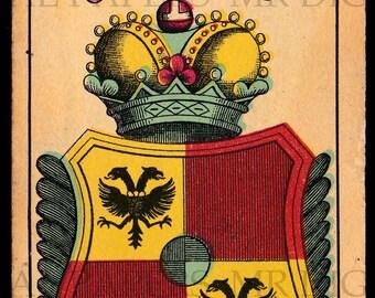 Antique Card / Antique Playing Card / Shield Playing Card / Digital Instant Download / Paper Ephemera /German Playing Card /Shield Print Art