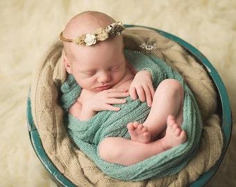 Baby Organic Headband | Floral Head Wreath | Baby Floral Crown | Organic Newborn Headband | Newborn Photo Prop