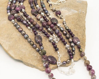 Natural Rubelite Tourmaline and Freshwater Pearl Sterling Silver Necklace