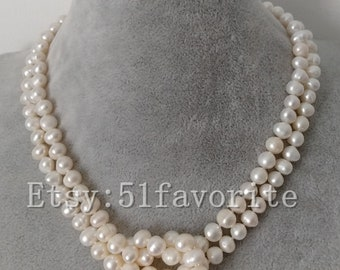 2 row 7-8mm cultured white fresh water pearl fashion wedding necklace earrings set
