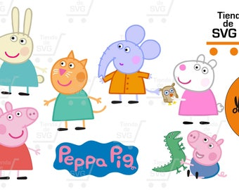 peppa pig svg, GEORGE, Peppa pig, elephant emilia svg, peppa svg, mama cerdita, george svg, Clipart, Digital design, sow pig, Little pig svg