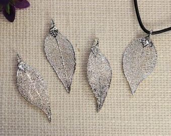 SALE Leaf Necklace, Silver Evergreen Leaf, Silver Leaf, Real Leaf Necklace, Evergreen Leaf, Boho Necklace, Silver Leaf Pendant, SALE393