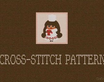 "DIY, Cocoa Cookie, Cookie Run, Cross stitch pattern, PDF files, size 5.9'' x 5.9"", 15 cm x 15 cm, 8 Ct. Aida, DMC."