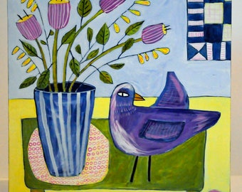 Folk Art Bird Painting - Still Life Painting - Acrylic Painting - Purple Bird Painting - Bird Art - Bird Lovers - Folk Art Painting