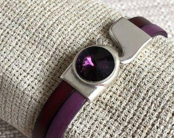 Leather bracelet with zamak and Swarovski crystal clasp