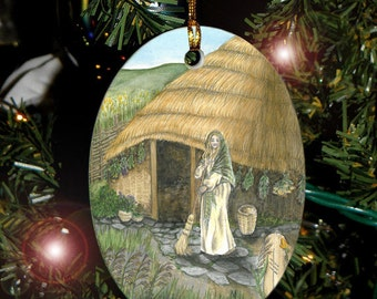 Broom/Reed Celtic Tree Ogham Voice of the Trees Ornament