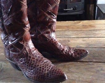 Fabulous Vintage Snakeskin & Leather Cowboy Boots, SIZE 4.5 1970's