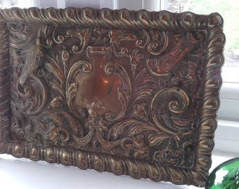Victorian Rustic Chic Brass green man Bacchus Old Man Winter tray 1800's