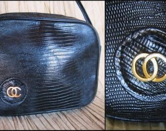 OLEG CASSINI vintage lizard embossed crossbody shoulder purse