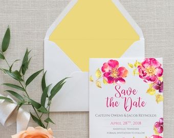 Whimiscal Floral Calligraphy Save the Date, Flat Card, Postcard | Deposit