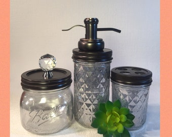 Mercury Glass Mason Jar bathroom Assessory Set // bronze and silver // stainless steel soap pump and toothbrush holder / rustic farmhouse