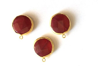 1 pc Matte 22K Gold Plated Base Red Jade Charm - RED 25x20mm-(002-033GP)