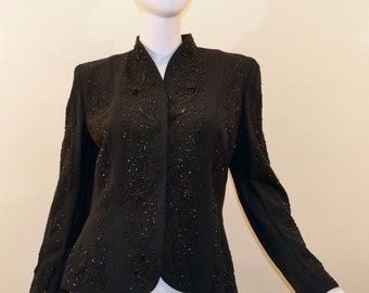 Lilli Ann Beaded Rhinestone Vintage 1940s Black Lined Nip Waist Jacket Blazer
