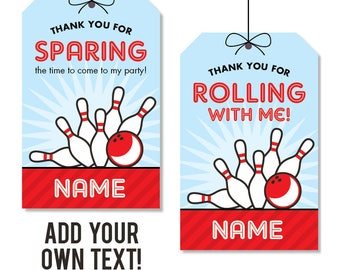 EDITABLE INSTANT DOWNLOAD Bowling Party Favor Tags - Editable, printable birthday party favor tags