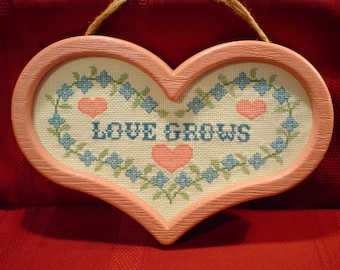 LOVE GROWS - Heart Shape Cross Stitch Wall Plaque