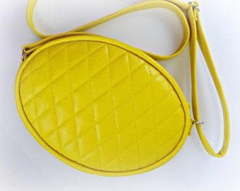 Sale! Yellow Oval Quilted Shoulder Bag, Crossbody Bag, Handbag, Yellow Purse, Adjustable Strap, Top Zipper