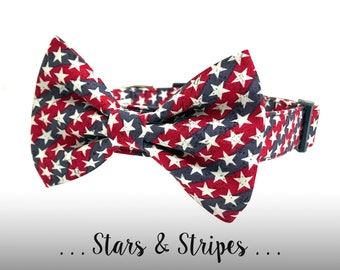 Red White and Blue Bow Tie Dog Collar; Patriotic Dog Collar Bow Tie Set: Stars & Stripes
