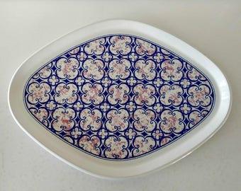 Vintage Noritake Primastone Platter / Stoneware Platter / Retro Dinnerware / Blue Pink China / Geometric Dinnerware / Made in Japan