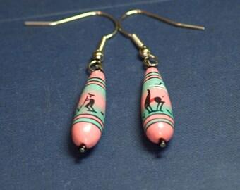 Hand-painted Peruvian ceramic bead earrings