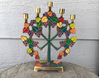 Vintage Terra Sancta Creations Israel Colorful Chime Candle Holder You are the Vine I am the Branches