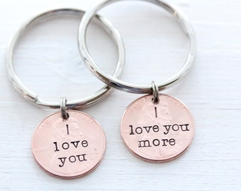 I Love You More Lucky US Penny Keychain, 7th Year Copper Anniversary Gift, Penny Keychain, Lucky Penny Keychain, Gift For Him
