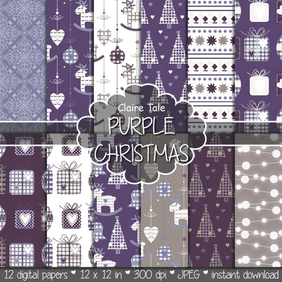 "Christmas digital paper: ""PURPLE CHRISTMAS"" christmas backgrounds with deers, snowflakes, christmas trees, lights, gifts, balls, damask"