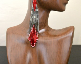 Extra Long Red and Gunmetal Beaded Earrings