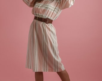 Vintage Pink And Taupe Striped Dress (Size Large)