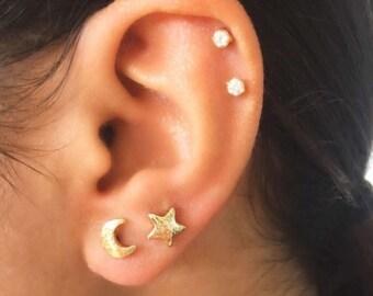 18k Gold Moon Star Stud Earrings