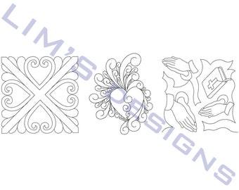 "Three Quilt Patterns N10 machine embroidery designs - 3 sizes 4x4"", 5x5"", 6x6"""