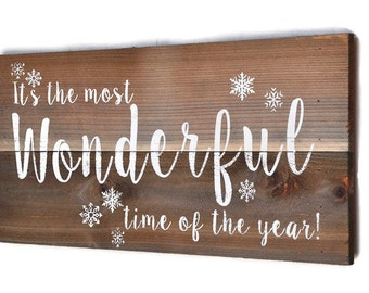 It's The Most Wonderful Time Of The Year, Christmas Decor, Holiday Decor, Christmas Sign, Christmas Decoration,  Custom Wood Sign