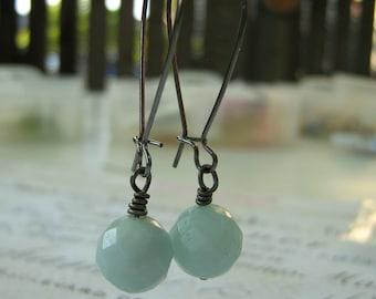 Amazonite Earrings, Blue Stone Earrings - Gunmetal Kidney Wire Wrapped Earrings