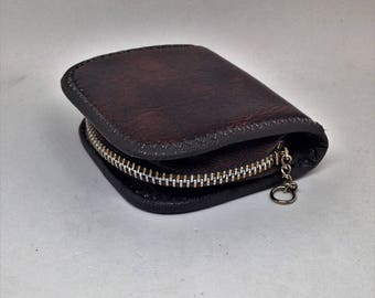 Vintage Brown Leather Zippered Change Purse, Mans Change Purse Wallet, Mans Old Coin Purse, Mans Laether Wallet