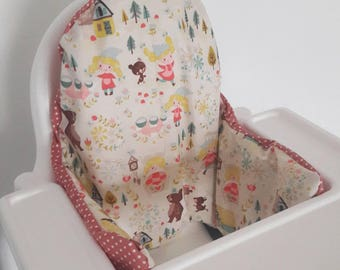 Inflatable highchair cushion cover - cushion cover only - goldilocks and three bears high chair fabric Antilop cushion cover - fairy tale
