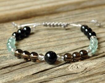 Obsidian, Smoky Quartz, Apatite, Grounding, Yoga Bracelet, Healing Bracelet, Meditation Bracelet, Crystal Healing Bracelet