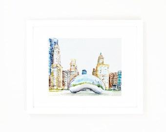 Chicago Art Print, Michigan Avenue, Millennium Park and Chicago Bean Watercolor