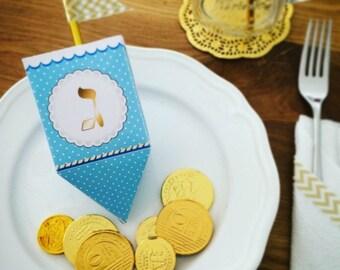 Hanukkah Dreidel, printable dreidel template to create 3D paper dreidels favors or Chanukka decorations, Light blue dreidel Instant download