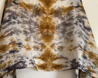 Large, colorful, neutral, hand dyed, 100% silk scarf/shawl.
