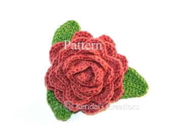 Rose and Leaves Crochet PATTERN, Not the Autual Rose/PATTERN No. 201-One Size, Use Multiple Yarn Weights/Hook Sizes