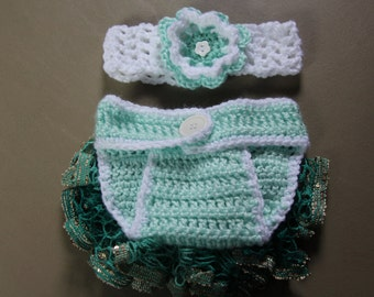 Baby Ruffled Diaper Cover 2 Pc Set, Crochet Baby Photo Prop,Green and White Ruffled Diaper Cover and Headband, Newborn Set,0-6 Months Outfit