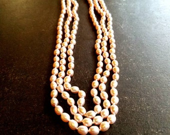 knotted pink freshwater pearl triple strand necklace