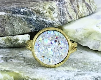 Crystal Clear Druzy Ring - Drusy Ring - Adjustable Ring - Promise Ring - Druzy Jewelry - Trend - Faux Diamond Ring - Pre Engagement Ring
