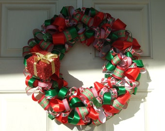 Christmas Present Ribbon Wreath - Christmas decoration home decor holiday wreath housewares ribbon wreath door decor