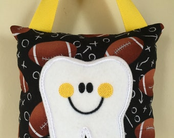 Tooth Fairy Pillow- Football X's and O's with Yellow Ribbon - Kids Pillow - Kids Gift
